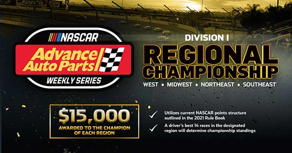 Nascar Advance auto parts weekly series Division 1 Regional Championship West Midwest Northeast Southeast